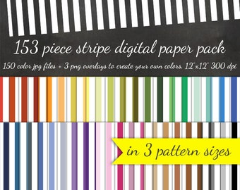 80% OFF SALE Cabana Stripe Digital Scrapbook Paper Pack - 3 Stripe Pattern Sizes 50 Colors Each & 3 Overlays - Digital Scrapbooking Paper