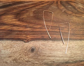 Modern Geometric Copper Threader Earrings - Minimalist Simple Wire Drop Stick Hammered Artisan Trendy Hipster Earrings Gift for Her