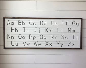 """Vintage Handwriting Alphabet ABC Sign 