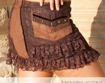 Steampunk skirt, psytrance skirt, hippie skirt, mini skirt, festival clothes, alternative apparel, steampunk clothing, goa (Fee 0023)