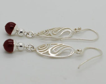 Genuine Garnet Sterling Silver Earrings January Birth Stone 31