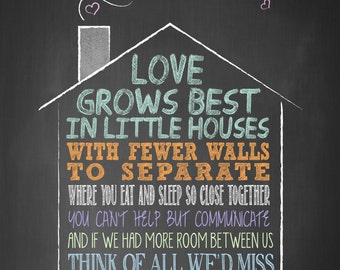 Love Grows Best in Little Houses 4x6 12 mil Typographic MAGNET, inspirational, self esteem, quote art. (R&R0044MAG)