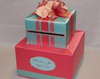 Coral Reef and Aqua WeddingCard Box/Silk Flowers, Rhinestones