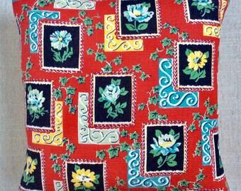 Vintage 1950s Barkcloth Fabric Cushion 40cm x 40cm