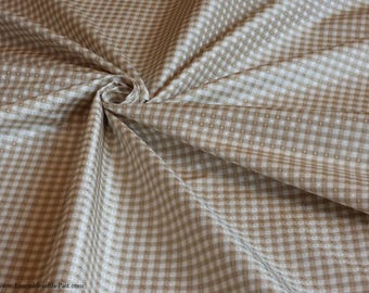 "Figured Silk Fabric - Small Check White/Beige - 100% Silk - By the yard - 54"" WIDE - EP Silk #90"