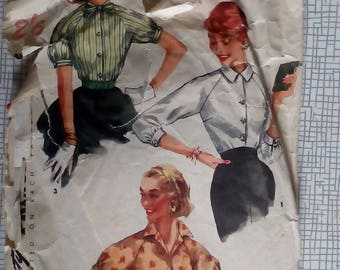 """1950s Blouse - 34"""" Bust - Simplicity 1692 - Vintage Sewing Pattern"""