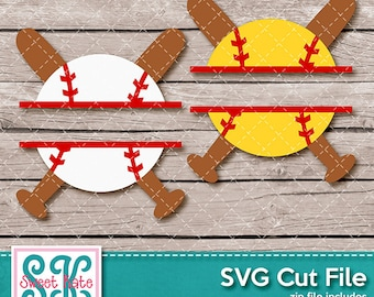 Split Baseball or Softball Crossed Bats SVG dxf EPS png JPG htv Heat Transfer Vinyl Cricut Silhouette Cameo Sports Sweet Kate Designs