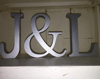 Silver Wedding Decoration / Home Decoration - Free Standing Wooden Letters and an Ampersand, 13cm Large Letters - 2 Letters Plus & Sign