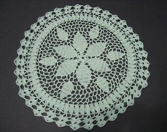 Crocheted Doily - Mint Green 6 Petal - 12 Inch Diameter