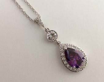 Purple Amethyst Cubic Zirconia Bridal Necklace Purple Wedding Crystal Pendant Purple Amethyst Crystal Rhodium Wedding Jewelry