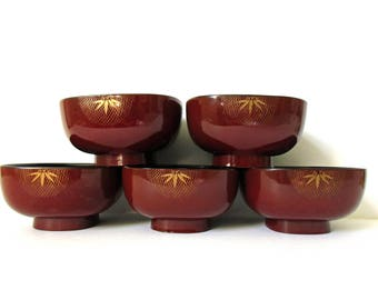 Vintage Japanese Lacquerware Set Of Bowls, Fitz And Floyd Japan Burnt Red  Gold Bamboo Design Great Pictures