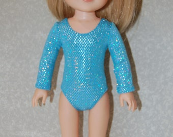 Gymnastics Leotard Doll Clothes silvery blue handmade for 14.5 inch Wellie Wishers tkct1117