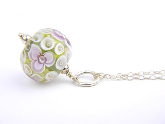 Art Glass Pendant - Medium Olive and Purple Art Glass Bead Sterling Silver Pendant - Classic Collection