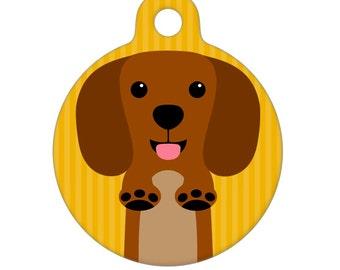 Pet ID Tag - Brown Dachshund Pet Tag, Dog Tag