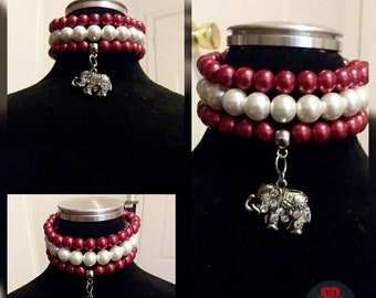 Red and White Stacked Bracelets