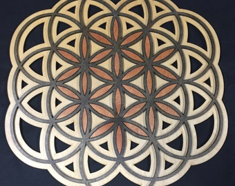 """Flower of Life with accented Seed of Life! 24"""" Radiant Hearts # RH00302"""