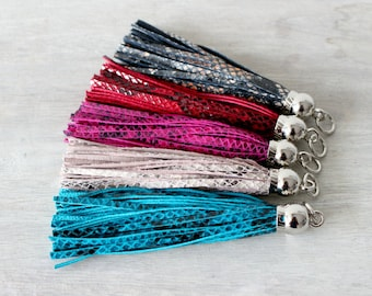 Snakeskin Leather Tassel Keychains with Silver Caps
