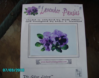 Lavender Pansies a Counter Cross Stitch Kit by  The Silver Lining
