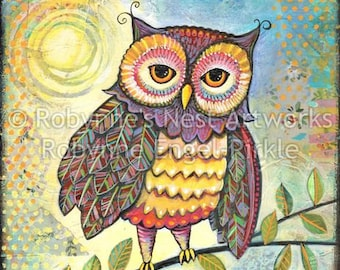 Hootie Owl with moon, mixed media artwork, collage, vinyage papers, illustration