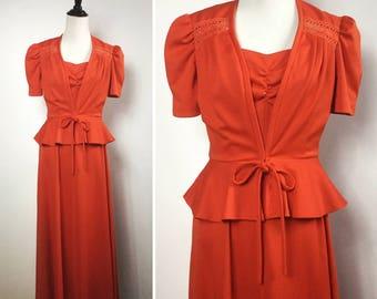 Orange Dress and Jacket Set - Burnt Orange Maxi Dress with Peplum Jacket - Sleeveless Long Flared Dress, Lace Tie Waist Jacket - Vintage 70s