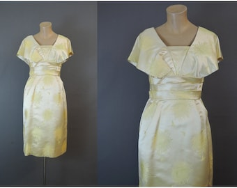 Vintage Dress Pale Yellow Floral Jacquard Satin, 36 bust, Shawl Collar, fits 36 inch bust, Party Cocktails