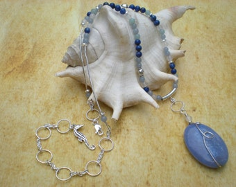 Breaking waves beaded necklace, blue fire agate, angelite, denim lapis, amazonite, seahorse charm, unique jewelry by Grey Girl Designs
