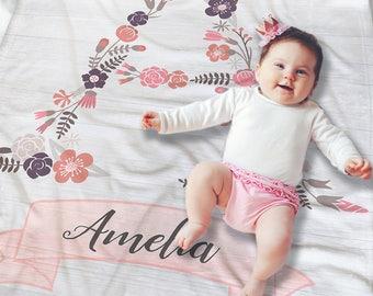 Monogrammed Baby Blanket - Floral Baby Blanket - Custom Baby Blanket - Newborn Girl Gift - Floral Baby Bedding - Baby Wrap - Swaddling Baby