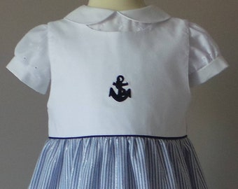 pinafore 4t in blue and white seersucker dress