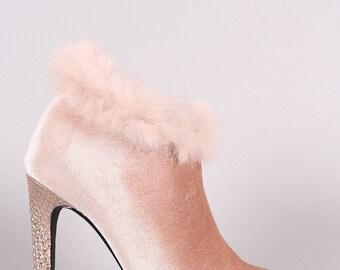 LA Velvet Faux Fur Pointy Toe Stiletto Booties