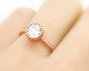 Gold Ring - Solitaire Ring - Stacking Ring - Twisted Band - Crystal Ring