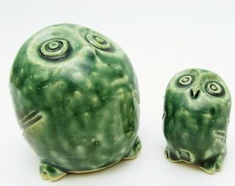 Pottery owl. Pair.Japanese studio pottery.okimono.handmade.43mm~65mm.#0b12.msjapan