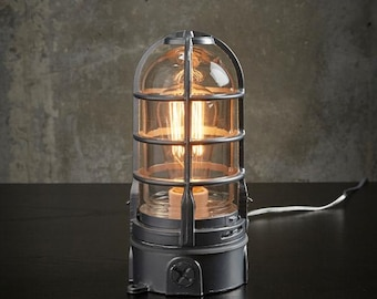 """The """"Vapor Touch"""" Industrial lamp w/ touch dimmer Very solid Vapor tight  Nautical lamp, Edison Lamp, steampunk lamp 120v-240v"""