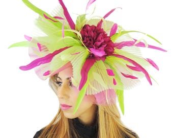 Jenny Magenta Pink & Lime Green Fascinator Hat for Weddings, Kentucky Derby With Headband (20 colours)
