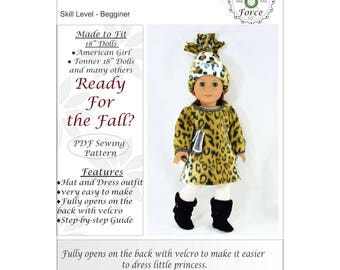 18 inch doll clothes pattern, Are you ready for the Fall, for dolls such as American Girl Doll, PDF Sewing Pattern, Doll clothes dress
