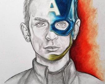 Captain America Art Print- The First Avenger - Marvel Art - Art for Kids Room- Chris Evans Captain America- Marvel's Avengers