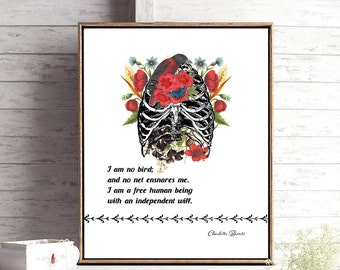 Jane Eyre Charlotte Bronte Literary Gift for Best Friend, Bedroom Wall Art, Feminist Gift, Gift for Sister, Book Lover Gift, Gift for Friend