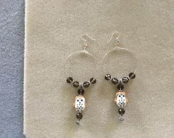 """4 & 1/4"""" long Hoop Earrings/Ceramic Owls."""