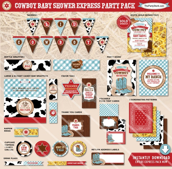 Cowboy Baby Shower Invitation, Printable Cowboy Baby Shower Decorations  Available To Match