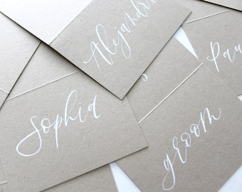 Kraft Place Cards, Wedding Place Cards, Escort Cards, Event Stationery, Boho Wedding, Modern Calligraphy, Tent Place cards, Boho stationery