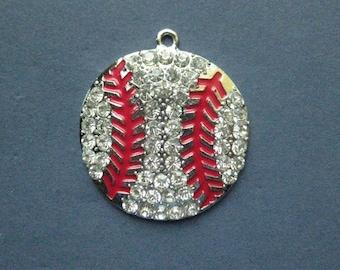 Large Baseball Charm - Baseball Pendant - Sports Charm - Softball Charm - Antique Silver and Rhinestones - 44mm x 39mm -- (No.71-11141)