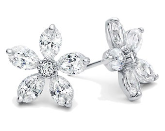 Women Rhodium Plated Sterling Silver 1.5ct Five Marquise CZ Flower Stud Earrings(LUXE13414)