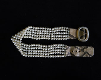 Vintage Beaded Belt, Faux Pearls, Faux Snakeskin, Statement Belt