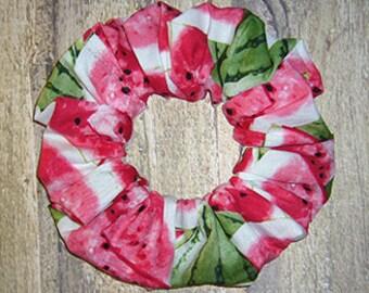 Hair Scrunchie, Summer Fashion Ponytail Holder, Cotton Fabric Hair Tie, Watermelon