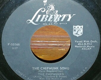 "The Chipmunk Song Vintage Vinyl 7"" 45 RPM Record"