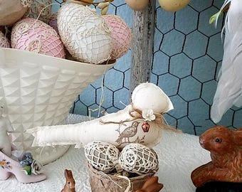 Bird, Stuffed Fabric Bird, Fabric Bird, Bird Nest, Easter Decor, Cloth Bird, Easter Gift, Cream Bird, Shabby Chic Bird