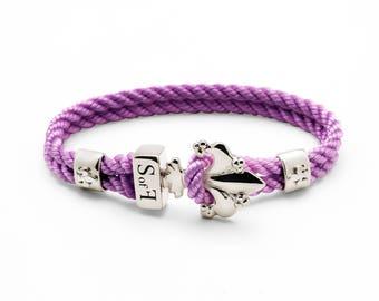Fleur de Lis Bracelet Silver with Purple Marine Rope (free shipping)