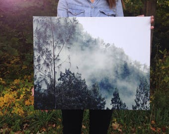 Misty Morning Nature Photography on Canvas- Indonesia travel photography, wrapped wall canvas, Wall Art