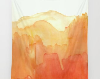 """Wall tapestry with fine art print. Abstract watercolor painting in bright orange., yellow and white """"Orange Distance"""" Statement decor"""