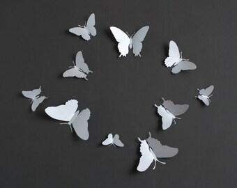 3D Wall Butterflies: 3D Butterfly Wall Art for Modern Decor, Dorm Room in Silver Metallic