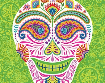 Dia de los Muertos Sugar Skull Art Print Paisley Skully on Green-Day of the Dead